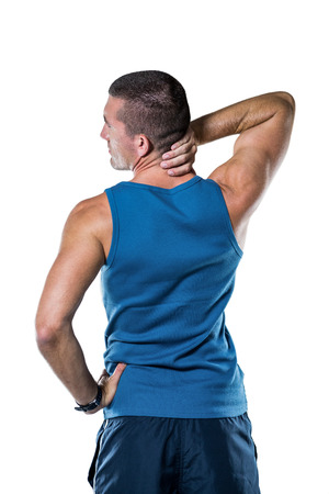 back sprains: Rear view of athlete with neck pain over white background