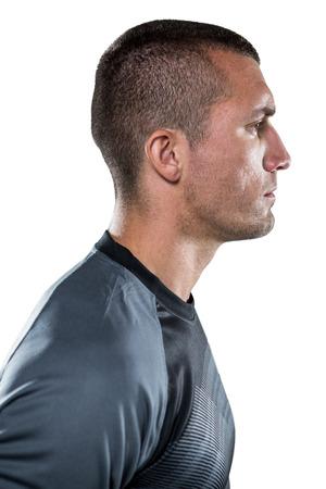 profil: Zobacz profil poważny gracz rugby na białym tle