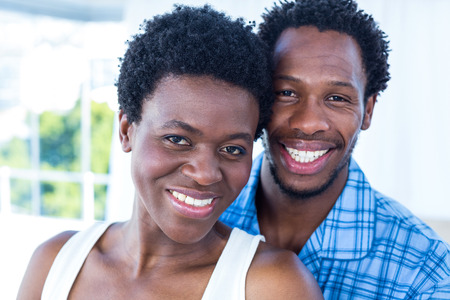 house family: Portrait of  smiling happy couple at home