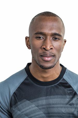sportsman: Portrait of confident sportsman over white background Stock Photo