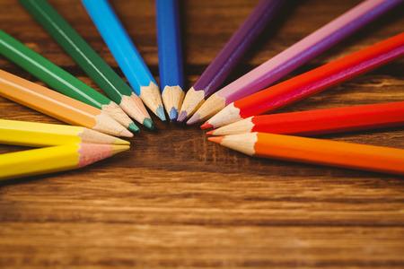 circle shape: Colour pencils on desk in circle shape shot in studio