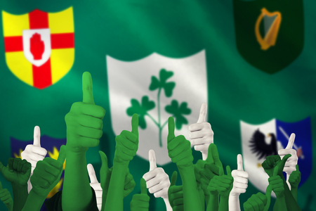 raise the white flag: Hands showing thumbs up against close-up of various province icon with irfu logo over flag Stock Photo