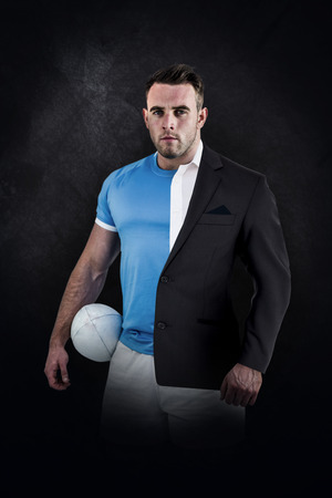 half dressed: Rugby player looking at camera against half a suit