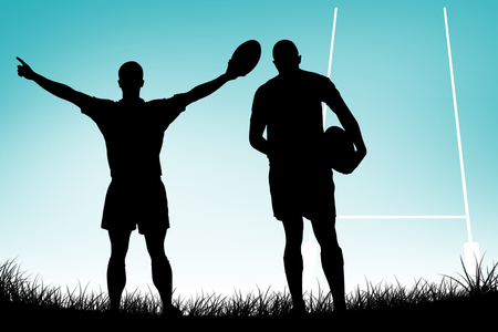 turned out: Rear view of rugby player running with ball against blue vignette background