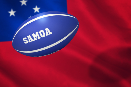 samoa: Samoa rugby ball against close-up of samoan flag