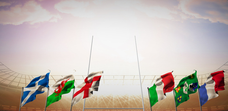 world sport event: Rugby pitch against rugby stadium Stock Photo