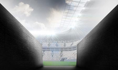 stadium crowd: Arena tunnel against rugby stadium