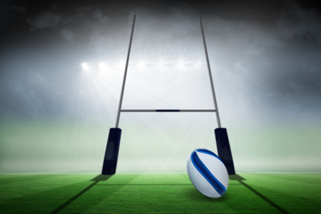 post: Rugby ball against rugby pitch