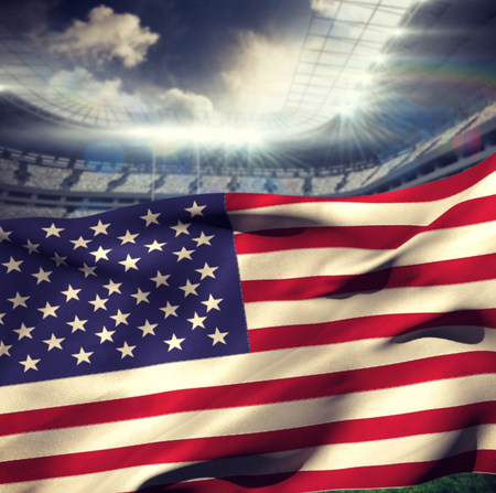 bandera blanca: Waving flag of America against rugby stadium Foto de archivo