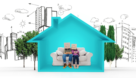 urban planning: Silly employees with arms folded wearing boxes on their heads against house shape