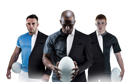 half ball: Rugby player holding a rugby ball against half a suit