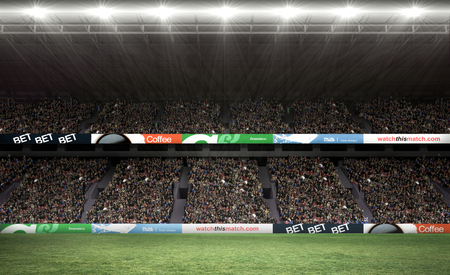 crowd: Half a suit against rugby fans in arena Stock Photo