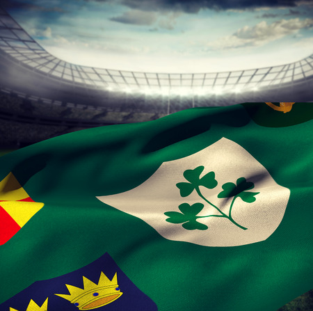 centenary: Flag of the IRFU with the centenary logo against rugby stadium Stock Photo