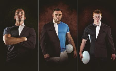 terno: El jugador de rugby que mira la c�mara contra el medio un traje