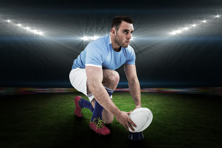 rugby: Rugby player ready to kick against rugby stadium