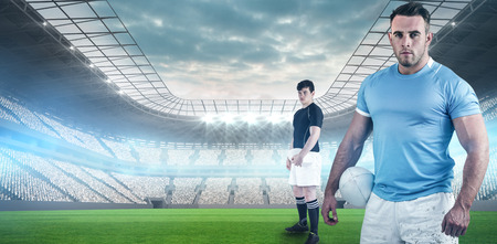 roof profile: Rugby player holding a rugby ball against soccer stadium