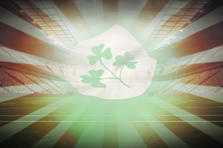 centenary: Flag of the IRFU with the centenary emblem against linear design