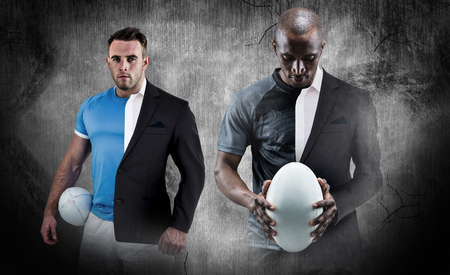 half ball: Thoughtful athlete looking at rugby ball against half a suit