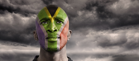 and south: South AFrica rugby player against stormy sky