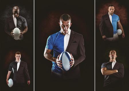traje formal: El jugador de rugby que mira la c�mara contra el medio un traje