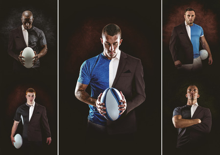 suit man: Rugby player looking at camera against half a suit