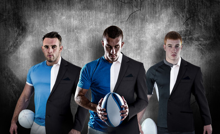 white shirt: Rugby player looking at camera against half a suit