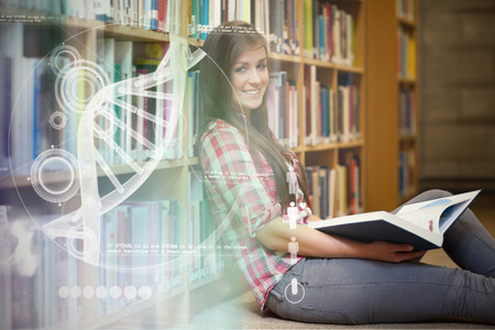 dna sequencing: Illustration of DNA against smiling young female student holding a book