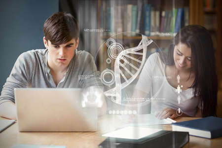 school class: Illustration of DNA against students working together Stock Photo