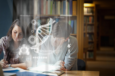 essay: Illustration of DNA against students writing an essay Stock Photo