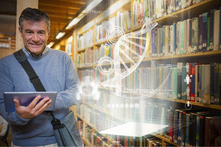 adult education: Illustration of DNA against man smiling while holding tablet pc