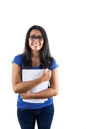 holding notes: Nerdy woman wearing glasses and holding notes against a white background Stock Photo