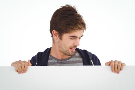 billboard background: Man holding billboard against white background
