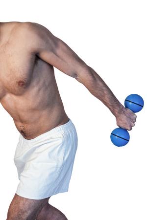 whitebackground: Man holding blue dumbbell over whitebackground