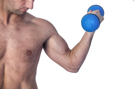 over white background: Man lifting dumbbell over white background
