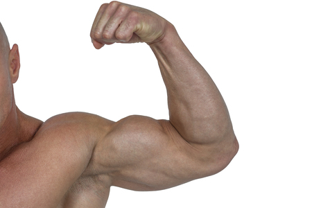 bicep: Cropped muscular man flexing bicep against white background Stock Photo