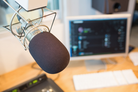 station: Close-up of microphone in radio station Stock Photo