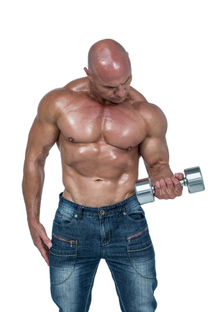 free weight: Bald man lifting dumbbells against white background