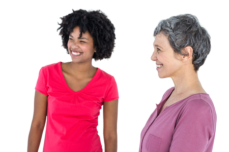 one parent: Cheerful young woman with mother against white background