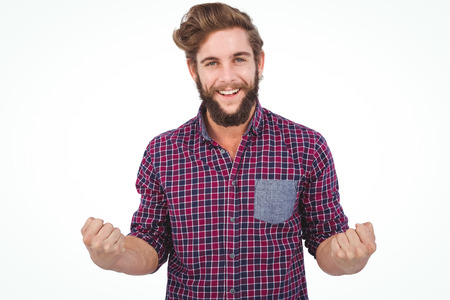 clenched fist: Portrait of successful hipster with clenched fist against white background