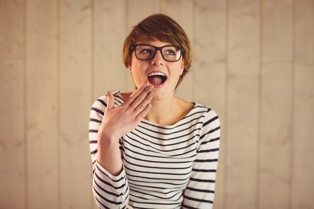 Portrait of attractive short hair woman surprised