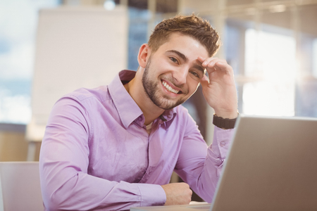 designer at work: Portrait of smiling businessman working with laptop in office