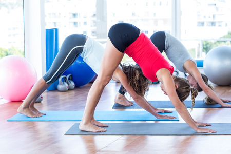 downward: Side view of women doing downward pose in fitness studio