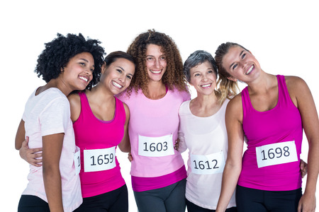 arms around: Cheerful athletes with arms around while standing against white background