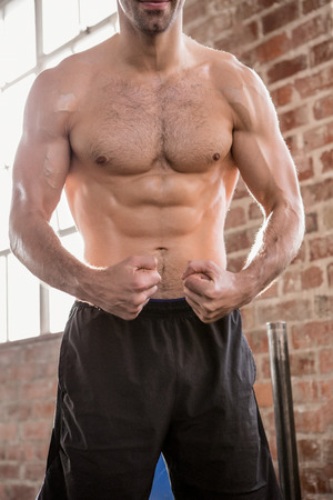 muscle toning: Midsection of shirtless man showing his body at the gym