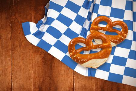 pretzel: Pretzel against weathered oak floor boards background
