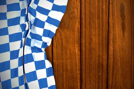 checker flag: Blue and white flag against overhead of wooden planks