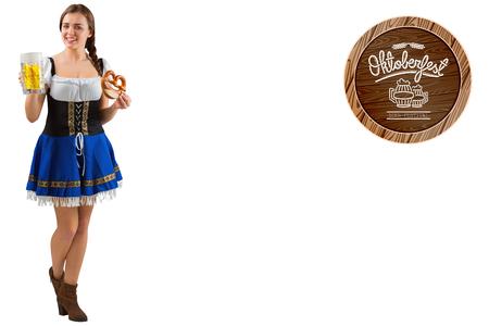 pretzel: Oktoberfest girl holding beer and pretzel against oktoberfest graphics Stock Photo