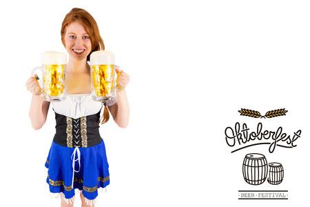 tankard: Oktoberfest girl holding jugs of beer against oktoberfest graphics Stock Photo