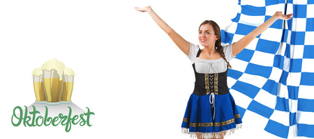 checker flag: Pretty oktoberfest girl smiling with arms raised against oktoberfest graphics Stock Photo