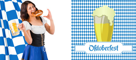 tankard: Pretty oktoberfest girl holding beer tankard and pretzel against oktoberfest graphics